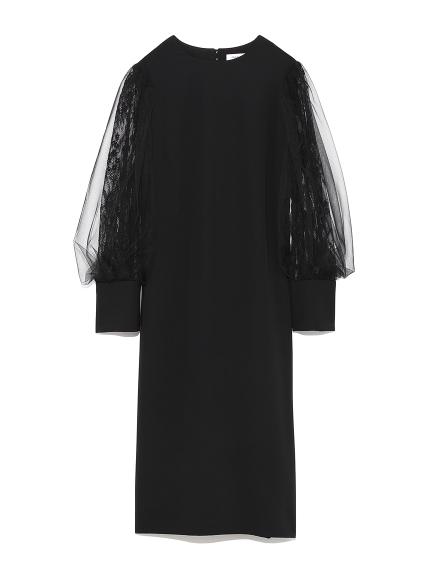 チュールスリーブドレス(BLK-0)