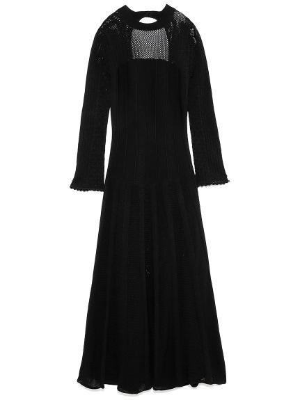 柄編みニットドレス